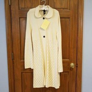 NWT Dialogue Cream Full Length Cardigan Sweater